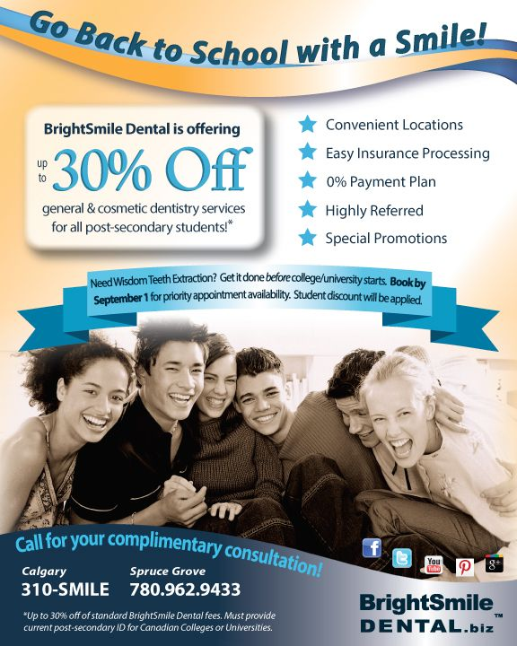 Go back to school with a smile! BrightSmile Dental is offering 30% off for