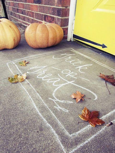 chalk a doormat for halloween