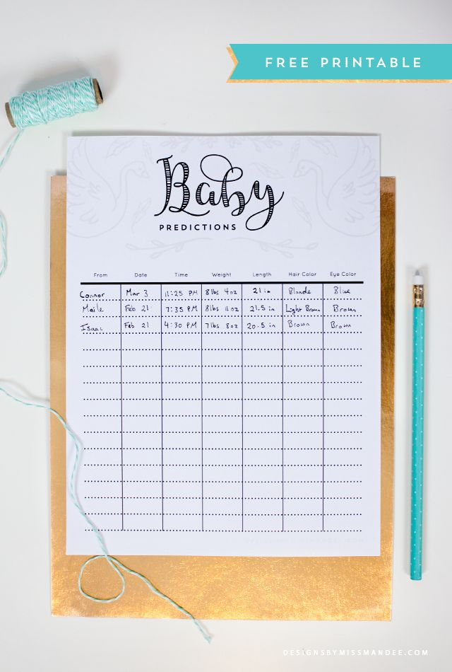 FREE Baby Prediction Printable - Designs By Miss Mandee. Easily keep track of family and friend's predictions for the new baby with the lovely, printable sheet. And, because it's so cute, it makes a great addition to the baby book later on!