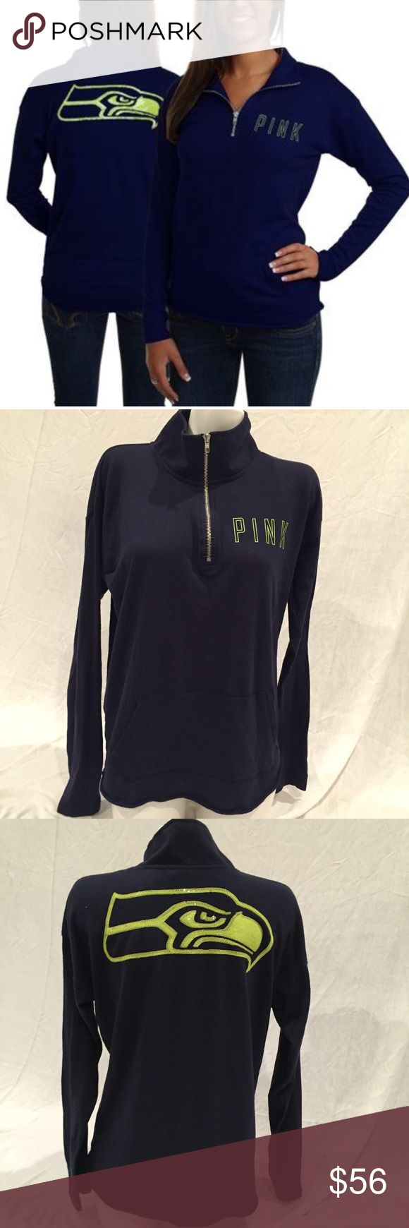 VS Pink NFL Apparel Seattle Seahawks Quarter Zip Victoria's Secret Pink NFL Apparel Seattle Seahawks Quarter Zip; in good condition; navy and neon green sequins PINK Victoria's Secret Tops Sweatshirts & Hoodies