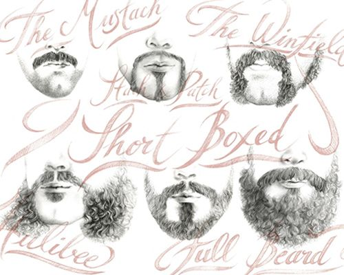 illustration mode moustache, barbe, poils calligraphie Florence Gendre
