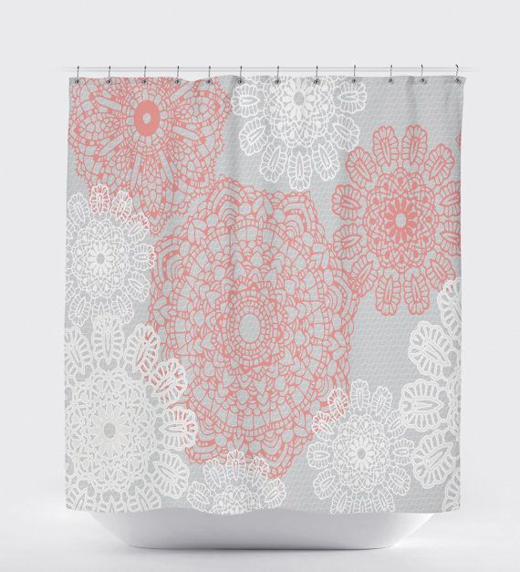 Rustic Shower Curtain Coral And White Floral Shower Curtain