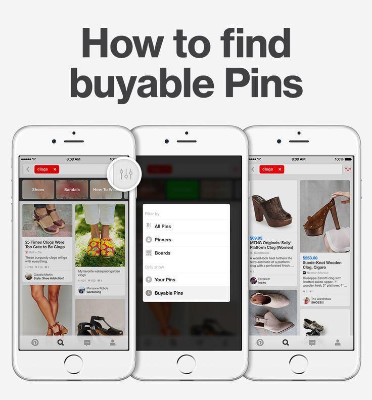 Shop on Pinterest! If you're looking for something specific, type in a search and tap the filter to show buyable Pins, only.