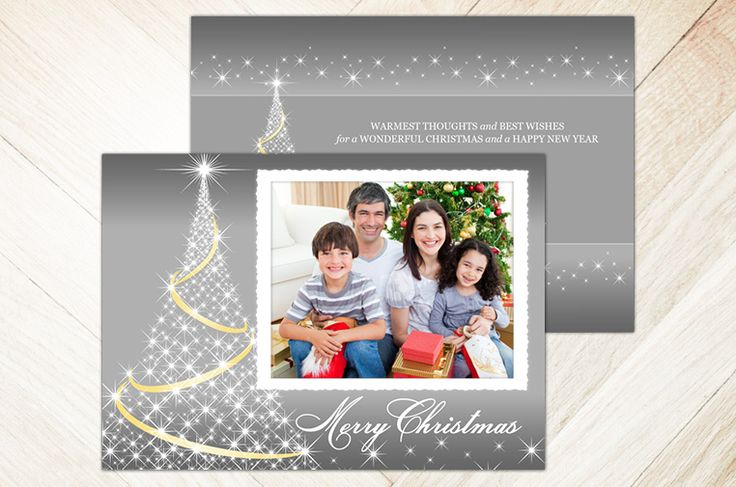 Twinkle Tree (7×5 2-Sided) Holiday Christmas Photo Card template from Focus in Pix.