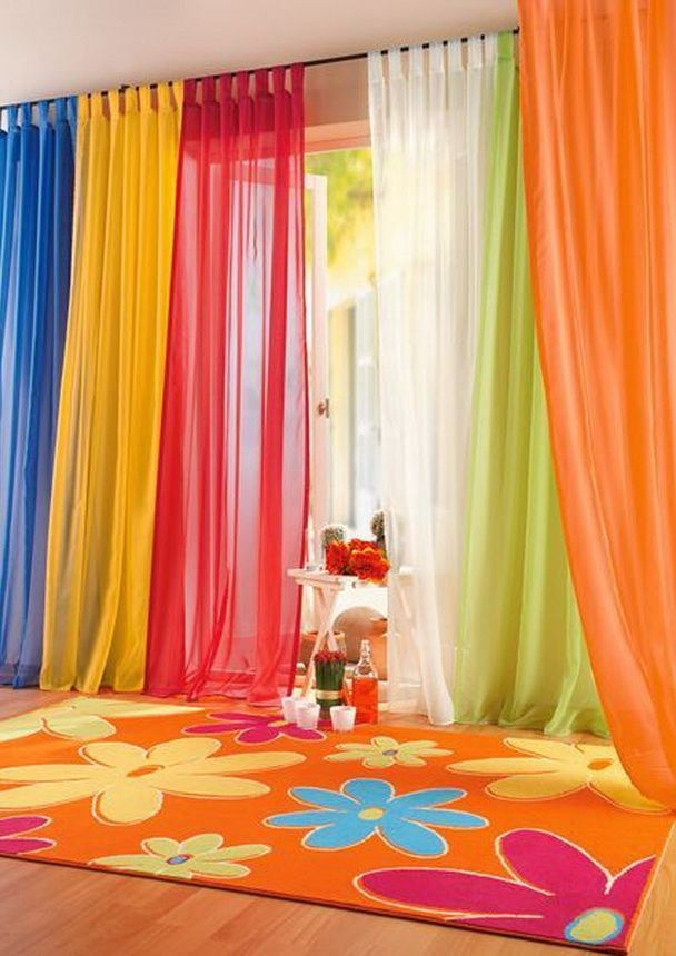 Colorful Blue Yellow Red White Green and Orange Sheer Bedroom Curtains with Flowery Rugs in Kids Bedroom Decoration