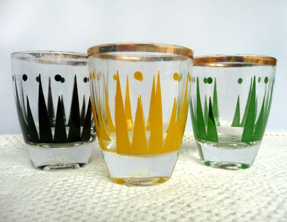Vintage Shot Glasses   Three 1950s Shot Glasses   Retro French Glasses    Mid Century Glasses