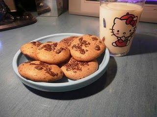 Cookies dukan!(Pro 6 cookies) - 3 CS ovesných otrub - 1 vejce - 1. CS kukuřičného škrobu. - 2 Squares čokoláda bez cukru / tuku nakrájíme na kousky, aniž by (Brand Mercadona) - 1 cc sladidla - 1/2 CC vanilka aroma. - 1 CS sušeného odstředěného mléka - 1 cc prášku do pečiva