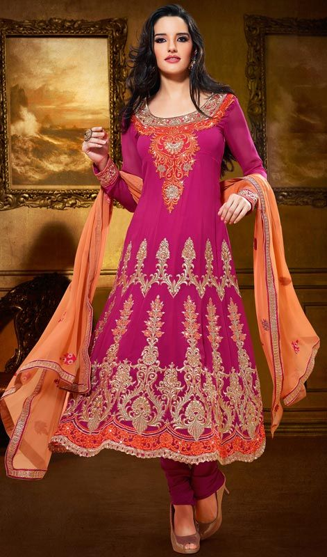Magenta Embroidered Georgette Kalidar Suit  SKU: FD-1109-28279 Get a dazzling look dressed in this magenta georgette kalidar suit. Resham embroidered decorative patterns accentuate the beautiful look of the kameez. #EmbroideredLongAnarkaliSuit #BeautifulAnarkaliSuitPartyWear