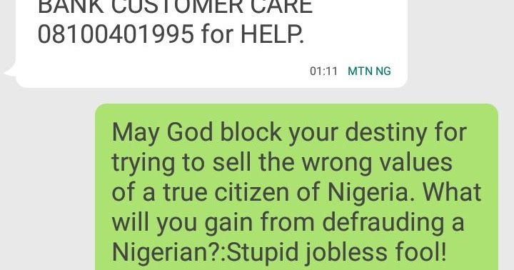Hello! if you know anyone in EFCC or MTN please report this number to them before an innocent Nigerian falls victim.  We should learn to make money the right way.  Share Your Experience Below!