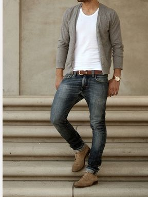 Grey cardigan (Gant / All Saints), white t-shirt, fitted denim jeans with suede brogues. Brown belt and watch to finish.