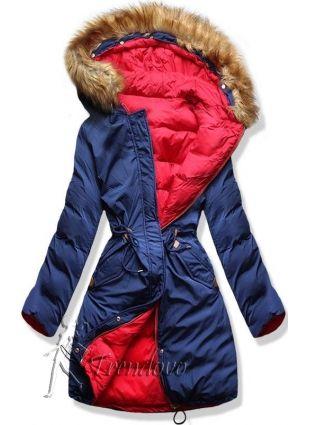 Modro/červená oboustranná zimní bunda