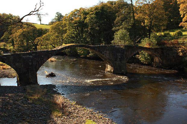 Cromwell's bridge over the River Hodder near Clitheroe, Lancashire, England