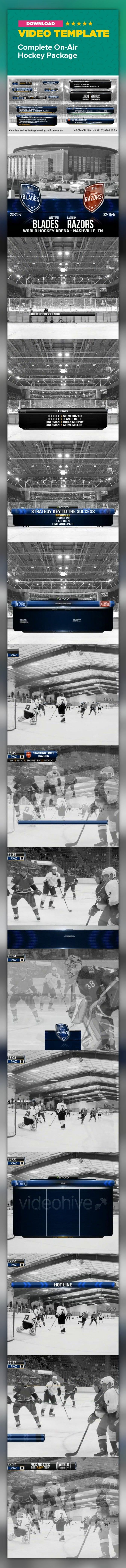 basketball, broadcast, football, grunge, hockey, live, lower third, nba, news, nfl, nhl, on air, pack, racing, sport    Look my new hockey packages!    CS4 project (compatible with CS5, CS5,5, CS6) FHD 1920*1080 25 fps 30 on-air elements No 3rd party plugins needed  You can open project on any language version of AE    Intro Stadium Officials Event's sponsor Event's sponsor big Hot ticket advertisement Advertisement Advertisement with logo Advertisement small Single player Hot line Firs...