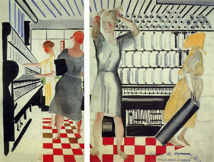 Alexander Deineka. Drawing. Thumbnail picture `Textile workers.`. 1927