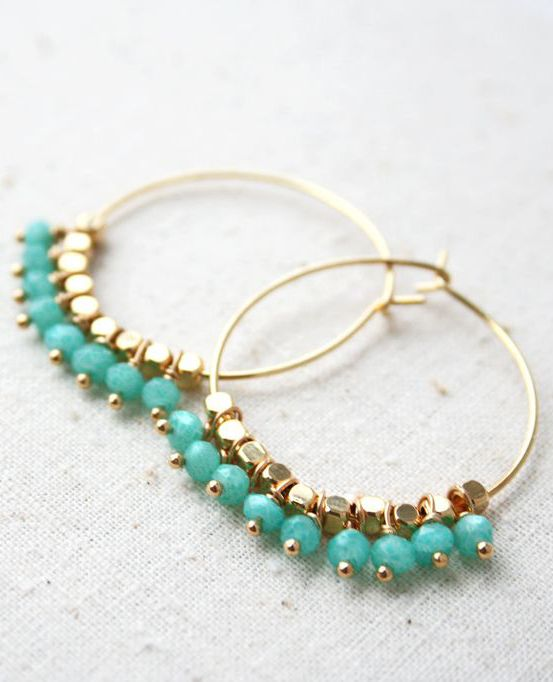 Pastel Hoop Earring, Summer Earrings, Bohemian Jewelry