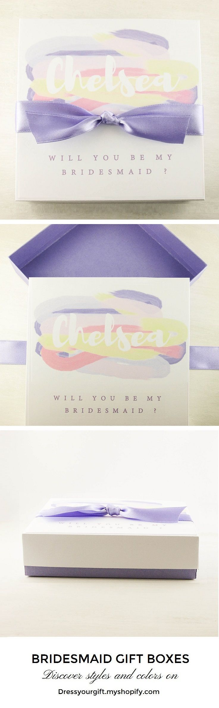 Personalized purple asking Bridesmaid box purple Bridesmaid gifts #bridalshowergift #bridalshowerpresent #maidofhonorproposal #demoiselledhonneur #damadehonor #trauzeugin #brautjungfern