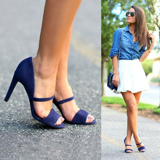 White skirt with blue shoes