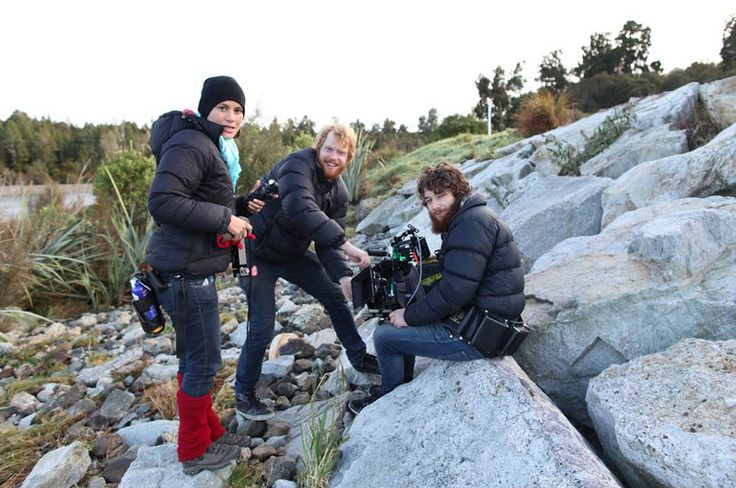 The Hold Your Breath camera department preparing to shoot on Lake Brunner.   1st AC Alyssa Kath, 2nd AC Matt Kofoed, and DP Alan Waddingham.