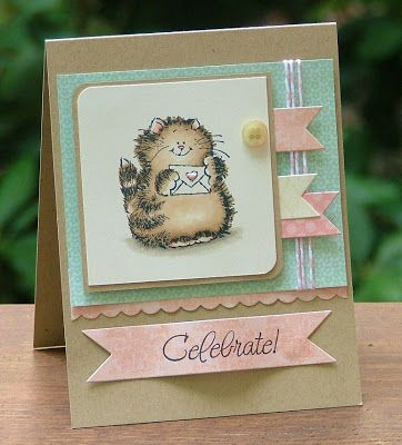 Lovely shade of kraft next to pastels and cute layout, lovely coloured Penny Black cat.