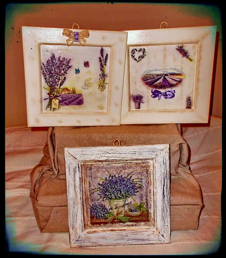 """Lavender for Andreea"" - three rustic and shabby wall decorations"