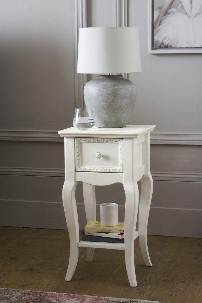 Slim Bedside Tables: Next Ophelia Slim 1 Drawer Bedside Table - White