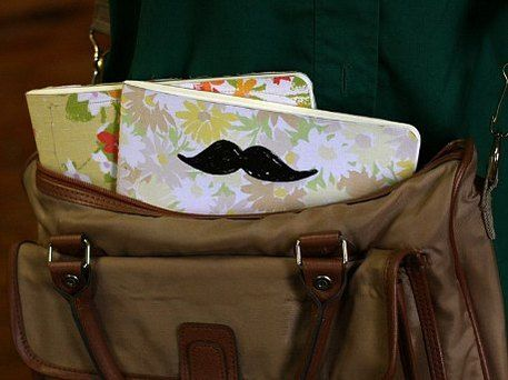 moustache stamped journal cover along w/ other mustache crafts in time for Movember