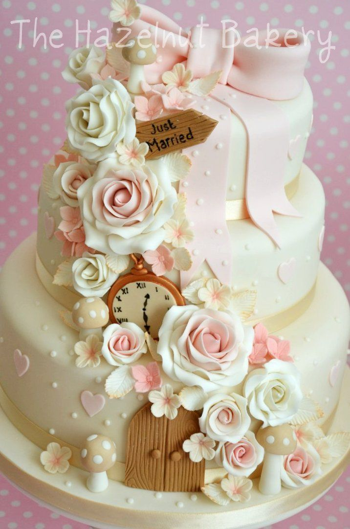 Alice in Wonderland inspired wedding cake in ivory and ...