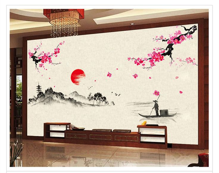 Traditional Chinese Culture Wall Stickers Classic Oriental Element Lotus Mountains Rivers Plum blossom Flowers Wall Wallpaper-in Wall Stickers from Home & Garden on Aliexpress.com | Alibaba Group