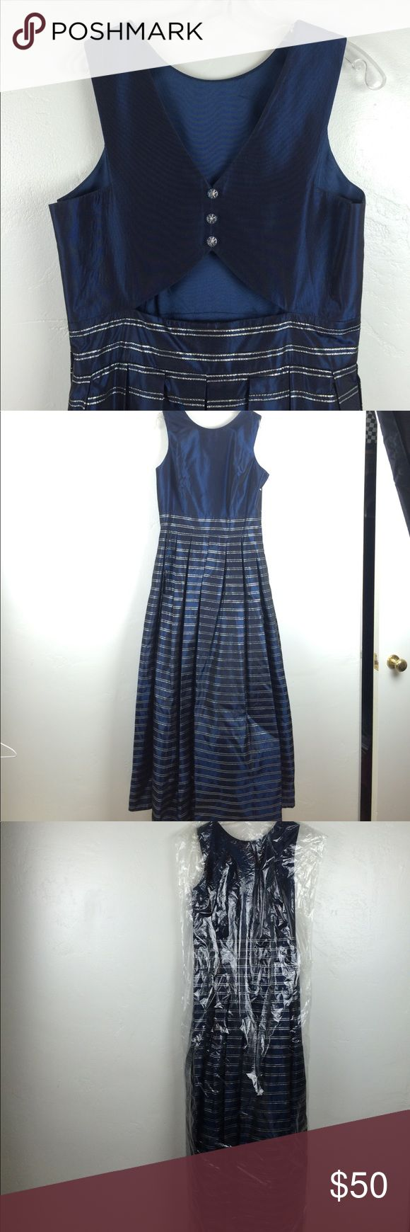 NWOT long dark blue silver stripes prom dress Gorgeous never worn prom or occasion dress. Rich midnight blue, slightly iridescent with shiny silver stripes on skirt. Back has a cut out with buttons for extra glamour. Kept in protection bag all the time. ever beauty Dresses Prom