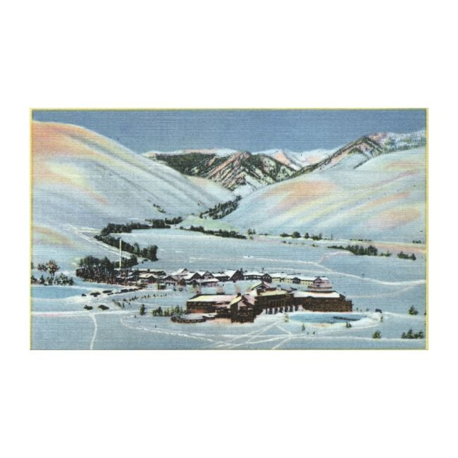 Sun Valley, Idaho - Vintage Winter Scene Canvas Print. Sun Valley Lodge & Challenger Inn - Sun Valley, ID was created in 1938. Click to buy on a canvas print or posters.
