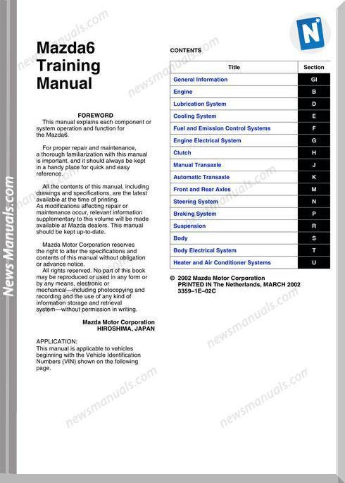 Mazda 6 2002 Training Manual Mazda, Mazda 6, Mazda cx5
