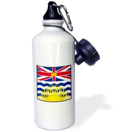 3dRose Photo Of Canada British Columbia Flag Button, Sports Water Bottle, 21oz, White