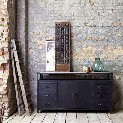 Sideboard aus Metall 160 Industriell