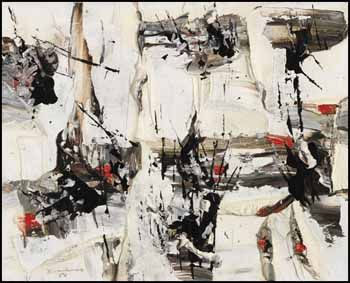 """Ouvertures imprévues, 1956, Paul-Émile Borduas, oil on canvas, 13 x 16 in., Montreal, Quebec, Canada. In this series Borduas """"...found a way to integrate, if not dripping itself, at least an equivalent of it by delicate traces of the painter's knife used on its edge here and there above the white, grey and red background. These traces of black are in fact more calligraphic, almost Japanese, than anything done by Pollock... Borduas succeeded in adapting his own vocabulary..."""""""