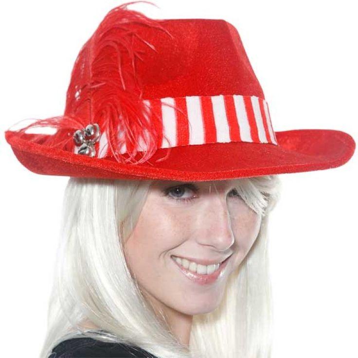 Kerst hoed rood met veer.