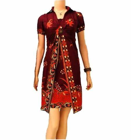 dress batik modern marun