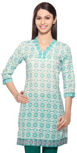 Rangmanch - Kurta Tunic - Printed Dobby. Sleek and simple, just the way we love our Rangmanch tunics!  The carefully designed silhouette is flattering on all body types, while the bold trim around the neckline, sleeves, and hemline make the print really pop.