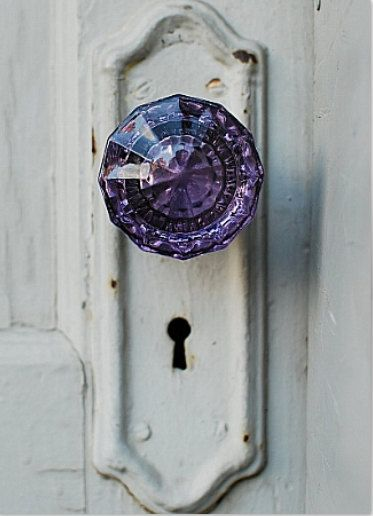 Colored glass door knobs.