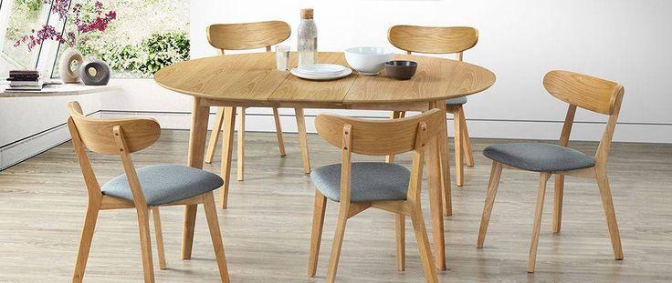 Mesa de comedor diseño redonda extensible roble LEENA