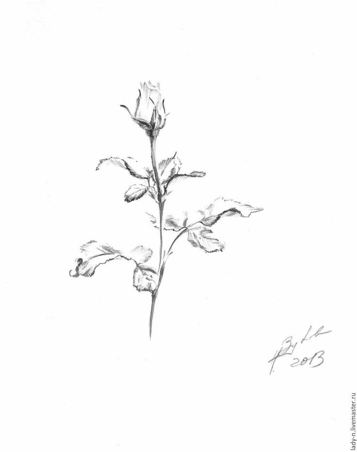 """Купить """"Идеальная роза"""", рисунок, графика - темно-серый, рисунок, графика, черный, белый, роза"""