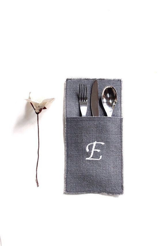 Make your holidays even more special with this personalized burlap utensil pocket. Its a burlap fabric pocket with an embroidered initial. The pouch measures about 9.5 inches in height, and 5 inches wide. Its available a variation of burlap colors. Choose one of the options or send me a color request. Also, add a note with the letter initial you would like to be embroidered. Happy shopping
