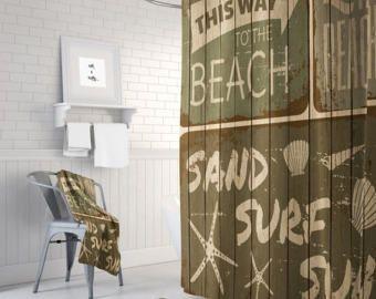 Vintage Brown playa ducha cortina muestra rústico imitación madera, opcional alfombra de baño, toallas de baño
