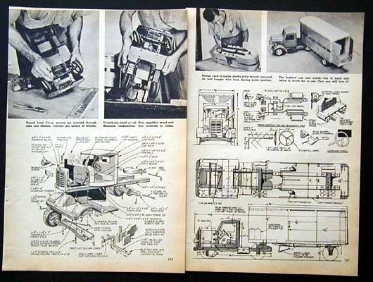 Truck Camper Plans Build Yourself: 1954 Toy Tractor Trailer How-To Build PLANS Wood & Metal