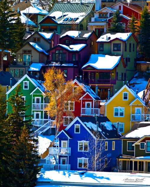 The colorful houses of Park City Utah. There are some great artisan shops and a wonderful bookstore in Park City, too.