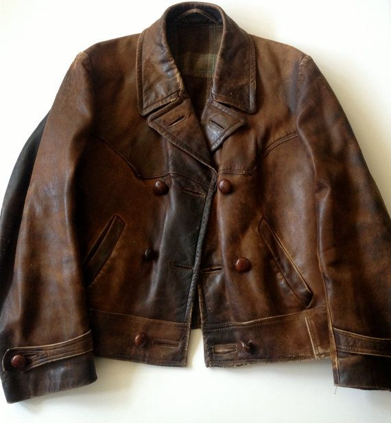 Vtg 1930s/40s Brown Leather Motorcycle Flight by JansVintageStuff, $585.00