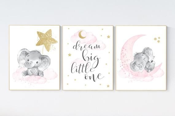Nursery Wall Art Girl Elephant Pink And Gold Nursery Dream Big Little One Pink Nursery Art Cloud And Stars Baby Room Decor Baby Girl Elephant Nursery Art Elephant Nursery Nursery Decor