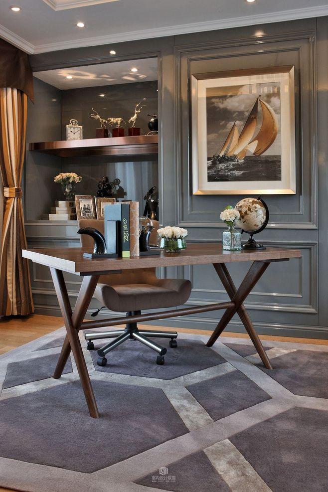 mesa estilo cavalete um pouco mais sofisticada. Essa foi a única que a Priscila gostou. #masculine_office_decor