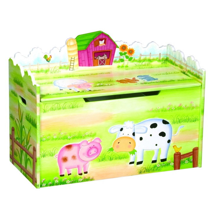 Farmhouse painted toy box. £124.99  http://www.worldstores.co.uk/p/Guidecraft_Farmhouse_Toy_Box.htm