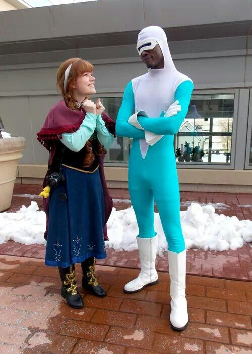 Anna from Frozen and Frozone.