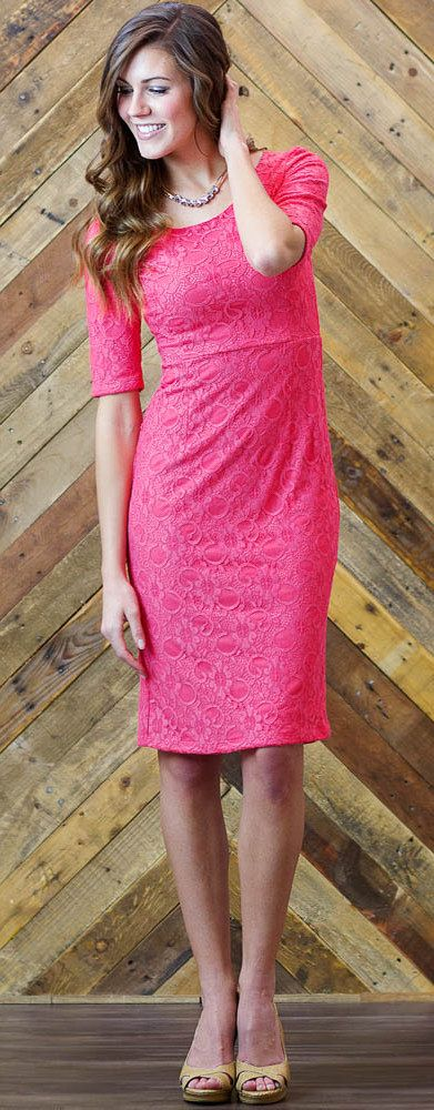 A lace dress with a slim fitting silhouette is a must have in every wardrobe. With its classic half sleeve and princess seams this dress is perfect for almost any occasion and comes in four beautiful colors, Cream, Gray, Coral, & Peachy Blush Pink! Lace Dress/ Coral Lace Dress/ Modest Dresses/ Modest Bridesmaid Dresses/ Modest Fashion/ Modest Clothing #sierrabrookeclothing